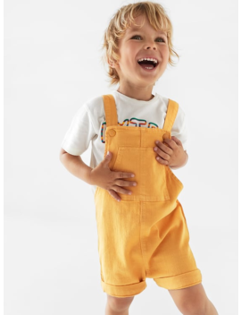 Garment  Dyed Twill Short Dungareesdungarees Baby Boy by Zara