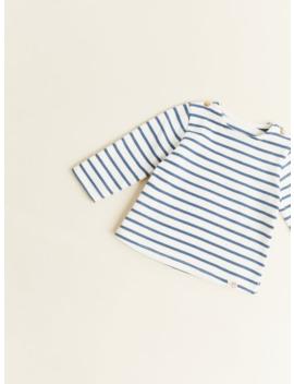 Striped T  Shirt With Labelorganic Cotton Mini by Zara
