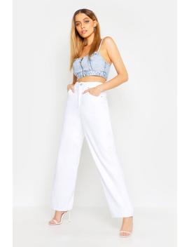 High Waisted Wide Leg Jeans by Boohoo
