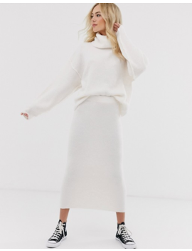 Asos Design Fluffy Jumper With Cowl Neck & Midi Skirt In Recycled Blend by Asos Brand