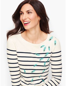 Embroidered Feathers Stripe Sweater by Talbots