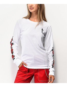 Empyre Rubino Roses White Long Sleeve T Shirt by Empyre