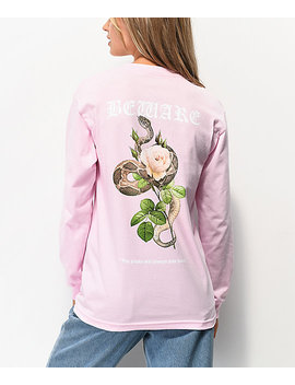 Empyre Beware Snake Rose Pink Long Sleeve T Shirt by Empyre