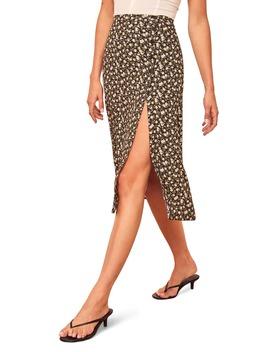 Jaime Side Slit Midi Skirt by Reformation