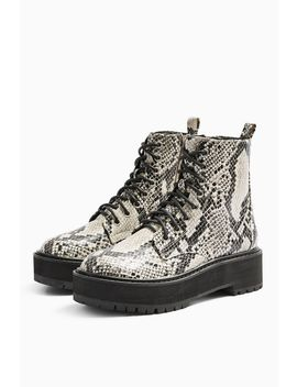 Oslo Snake Chunky Lace Up Boots by Topshop