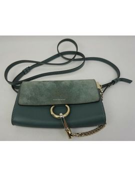 Chloe Mini Faye Suede & Leather Wallet On A Chain Cloudy Blue Crossbody Bag by Ebay Seller