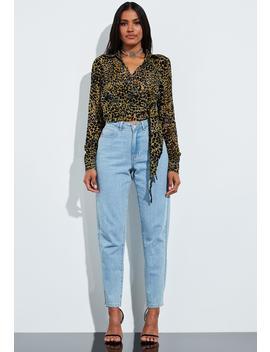 peace-+-love-brown-animal-print-velvet-full-sleeve-blouse by missguided