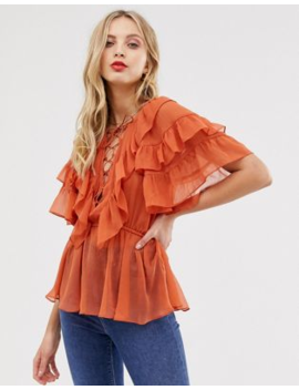 Asos Design Ruffle Sleeve Top With Lace Up Detail by Asos Design
