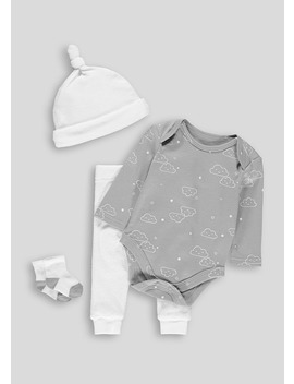 Unisex Cloud Bodysuit Leggings Hat & Socks Set (Tiny Baby 9mths) by Matalan
