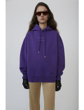Broken Logo Hooded Sweatshirt Violet Purple by Acne Studios