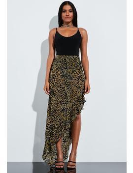 Peace + Love Brown Animal Print Velvet Frill Maxi Skirt by Missguided