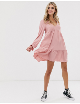 Asos Design V Neck Mini Smock Dress With Pep Hem by Asos Design