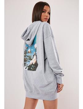gray-oversized-graphic-back-hooded-sweatshirt-dress by missguided