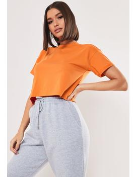 Tall Orange Roll Sleeve Crop Top by Missguided