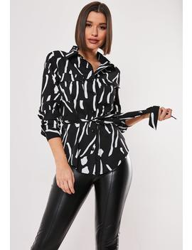 Black Scribble Print Belted Safari Shirt by Missguided