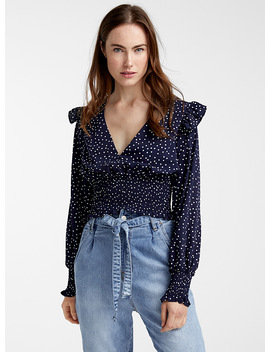 Elastic Waist Dotted Blouse by Icône