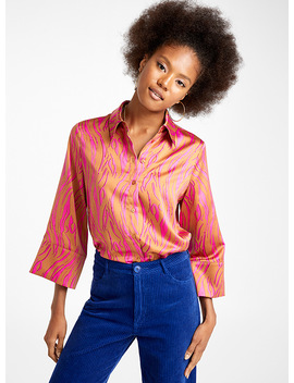 Satiny Bell Sleeve Shirt by Twik