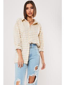 Yellow Gingham Oversized Shirt by Missguided