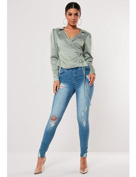 Green Satin Wrap Blouse by Missguided
