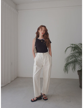 Front Pleat High Waisted Pants by Stylenanda
