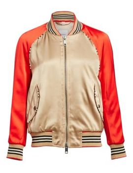 Harlington Logo Patch Satin Bomber Jacket by Burberry