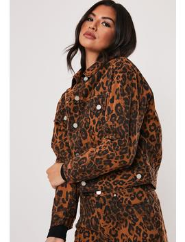 Brown Leopard Print Co Ord Denim Jacket by Missguided