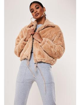 Petite Camel Cropped Faux Fur Bomber Jacket by Missguided