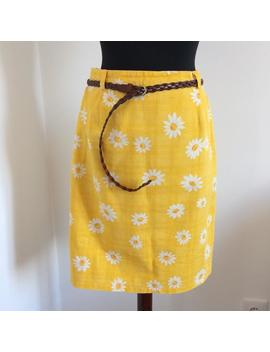 Vintage 90s Denim Yellow Skirt With Daisies Cotton by Etsy