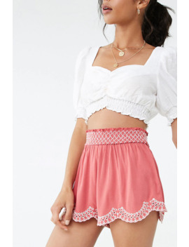 Embroidered Eyelet Trim Shorts by Forever 21