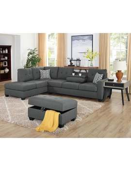 Lilola Veranda Linen Reversible Sectional With Ottoman by Generic