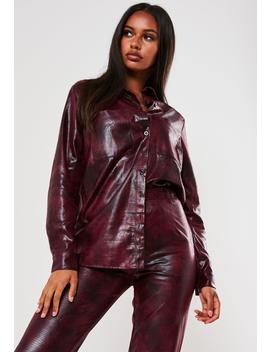 Petite Purple Co Ord Faux Leather Croc Oversized Shirt by Missguided