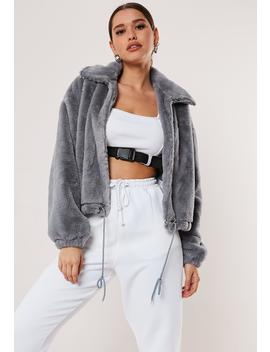 Grey Cropped Faux Fur Bomber Jacket by Missguided
