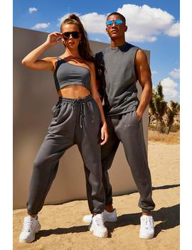 His Washed Drop Armhole Tank & Jogger Set by Boohoo