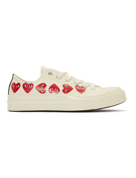 Off White Converse Edition Multiple Hearts Chuck 70 Sneakers by Comme Des GarÇons Play