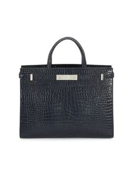 Manhattan Crocodile Embossed Leather Tote by Saint Laurent