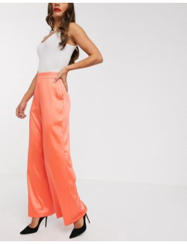 Asos Design Satin Wide Leg Trousers In Coral by Asos Design