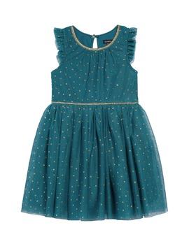 Glitter Dot Ruffle Sleeve Dress by Zunie