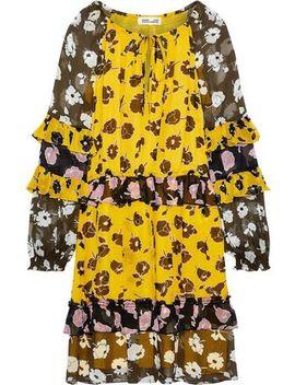 Haven Ruffled Trimmed Silk Georgette Mini Dress by Diane Von Furstenberg