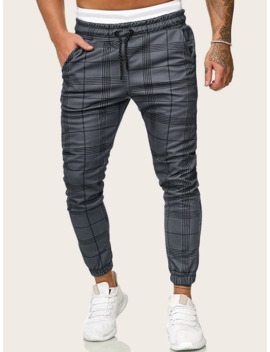 Men Drawstring Waist Plaid Pants by Sheinside