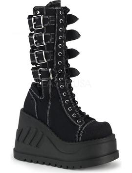 Stomp 210 | Black Canvas [Preorder] by Demonia Shoes