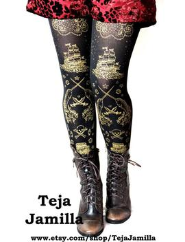 pirate-lolita-tights,-printed-narwhals-gold-on-black-all-sizes,-womens-sailor-nautical-small-medium-large-extra-plus-size by etsy