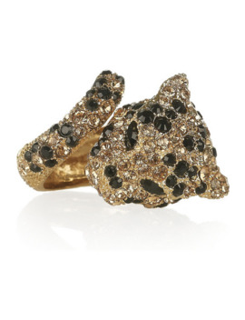 Gold Plated Swarovski Crystal Panther Ring by Roberto Cavalli
