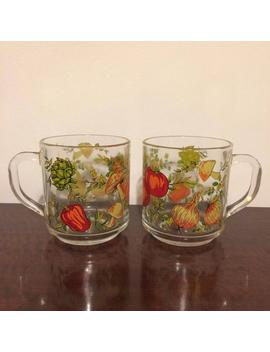 Arcopal Vintage Pair Of Coffee Tea Mugs With Mushrooms And Vegetables Transparent Glass France French Cups by Etsy