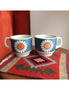 Set Of 2 Coffee Cups 1960's Cup Portuguese Cesol Ceramic Small Cups Daisies Daisy Flower Print by Etsy