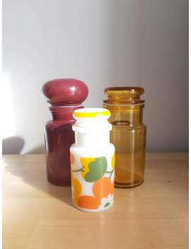Vintage Set Of 3 Apothecary Jars Bathroom Decor Vanity Daisies Amber Glass Milk Glass 70s by Etsy