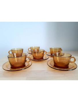 Vintage Amber Glass Vereco France Coffee Set Tea Cups And Saucers 70s Retro by Etsy