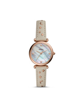 Carlie Mini Three Hand Winter White Leather Watch by Fossil