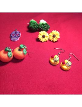Lot Of 5 Kitsch Jewelry Pieces Earrings And Pendant Fruit Veggies Flower Mexican Skull by Etsy