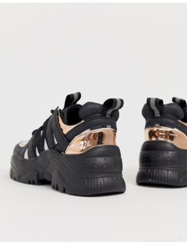 Asos Design Desert Daze Chunky Trainers In Black And Rose Gold by Asos Design