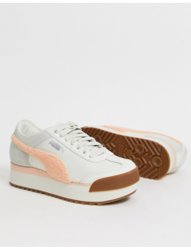 Puma Roma Heritage Platform White And Pink Trainers by Puma